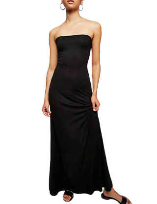 ECDAHICC Women's Strapless Maxi Dress Plus Size Tube Top Long Skirt Sundress Frenulum Cover Up