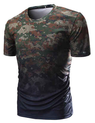 SOMTHRON Men's Dry-Fit Crew Neck Camouflage Short Sleeve Moisture Wicking Soft Comfy Active T-Shirt