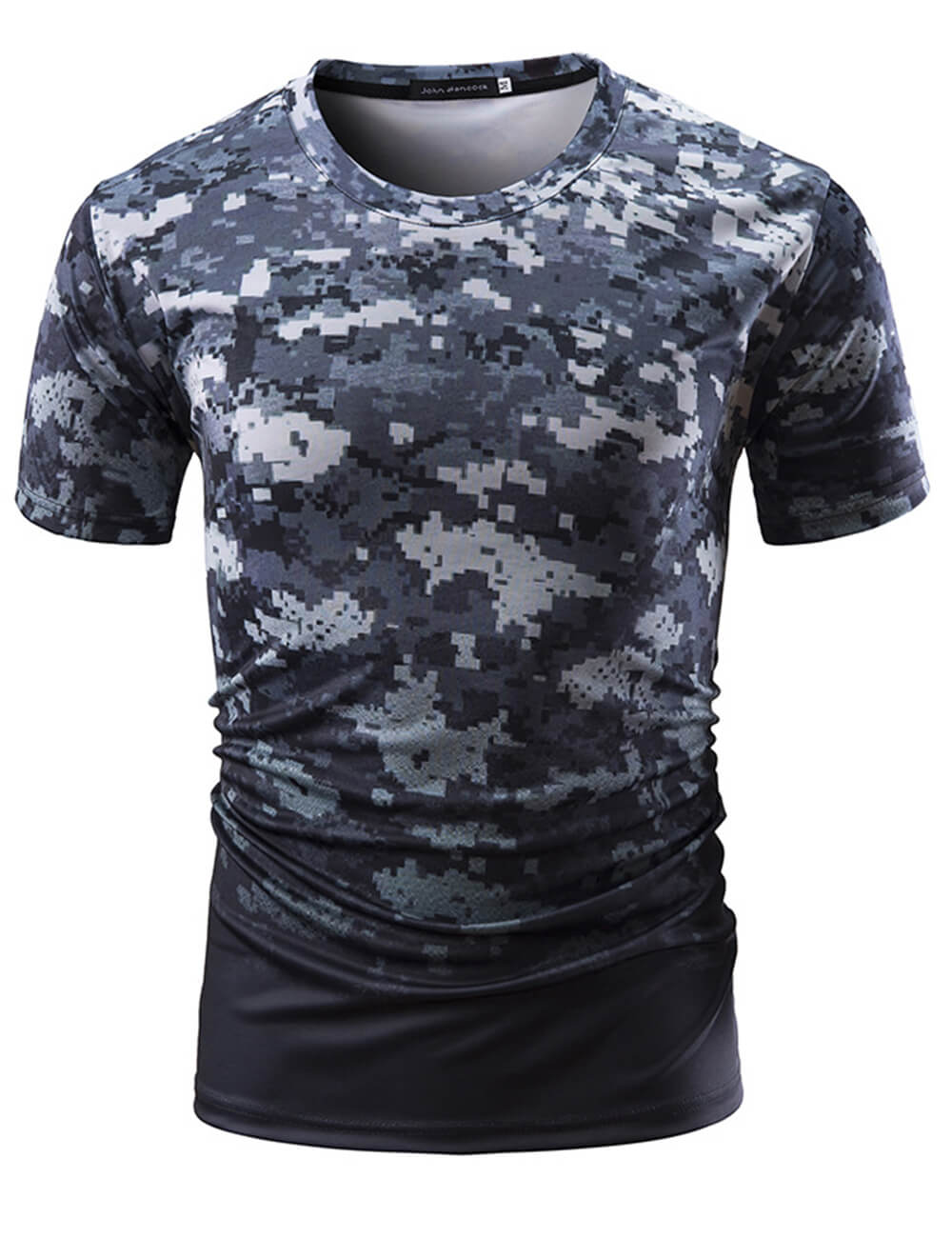 Men's Dry-Fit Crew Neck Camouflage Short Sleeve Moisture Wicking Soft Comfy Active T-Shirt