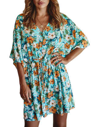 SEMATOMALA Women's Kimono Floral Dress Summer V Neck Button Down Drawstring Waist Flower Printed Flowy Boho Beach Coverups