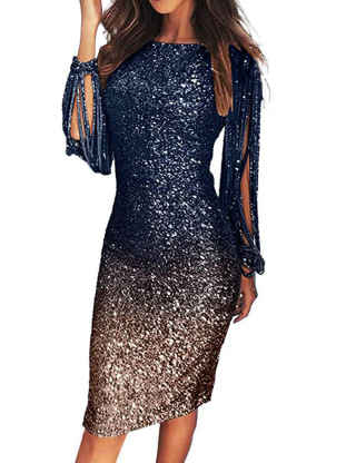 XXXITICAT Women's Tassel Sleeve Sequin Dress Gradient Color Evening Party Glitter Shining Bodycon Midi Formal Dresses