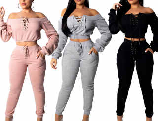 SOMTHRON Women's Sexy Spring 2pcs Sports Sweatsuits Off Shoulder Lace-Up Tracksuit Jumper Sets Legging Jogger
