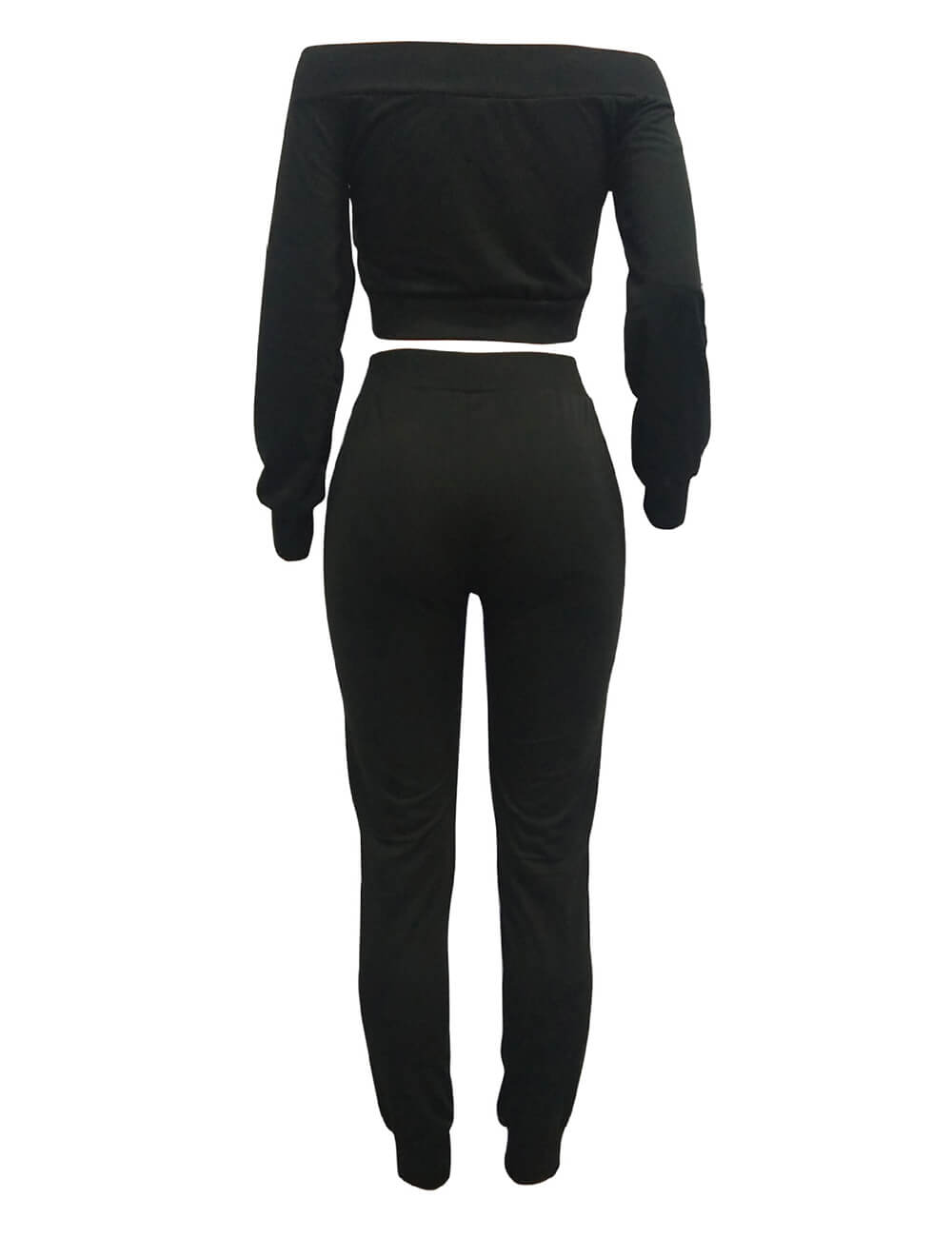 Women's Sexy Spring 2pcs Sports Sweatsuits Off Shoulder Lace-Up Tracksuit Jumper Sets Legging Jogger
