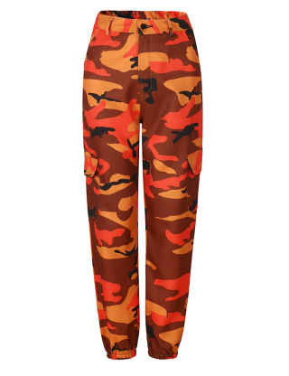 SOMTHRON Women's Loose Camo Hip Pop High Rise Cropped Beam Pants Straight Leg Sweatpants Joggers Overall Cargo Pants