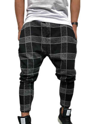 SOMTHRON Men's Loose Color Block Hip Pop Patch Work Cropped Beam Pants Drawstring Sweatpants Joggers Casual Pants