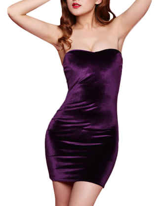 SEMATOMALA Women's Velour Bodycon Tube Mini Dress Velvet Strapless Off Shoulder Sexy Tube Top Slip Party Dresses Clubwear