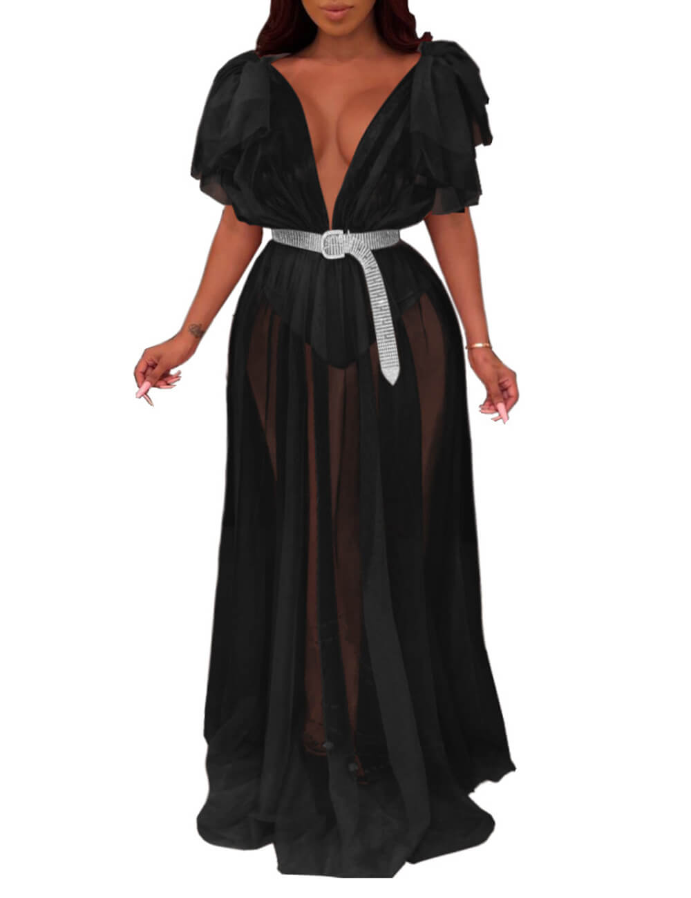 Women's See Through Mesh Sheer Maxi Party Club Dress Deep V Neck Ruffle Sleeve Ball Gown Plus Size Beach Cover Ups