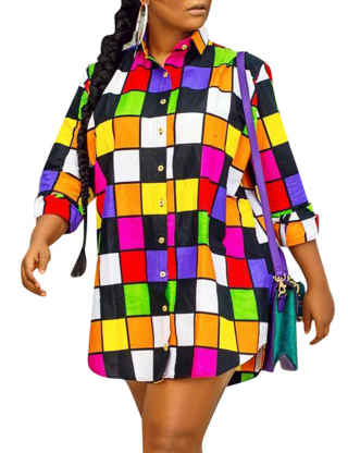 XXXITICAT Women's African Colorful Checkered Beach Sundress Long Sleeve Button Up Plaid Multicolor Mini Blouse Shirt Dress