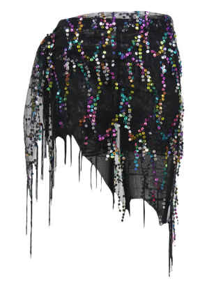 SEMATOMALA Belly Dance Hip Scarf Sequin Sheer Mesh Triangle Shawl Tassel Hem Waist Chiffon Dangling Costume Wrap Belt