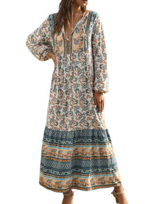 SOMTHRON women's Oversized Turkish Kaftans Long Sleeve Patch Work Ethnic Maxi Dresses Cover Up Bohemia Dress