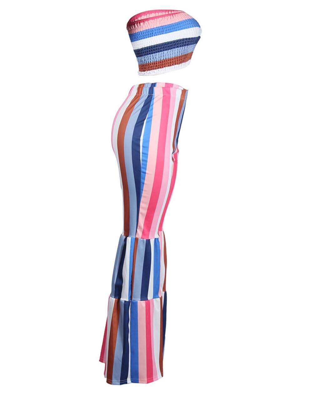 Women's Rainbow Striped Strapless Jumpsuit Printed Long Romper Tube Crop Top Wide Leg Pants 2 Pieces Outfits Set
