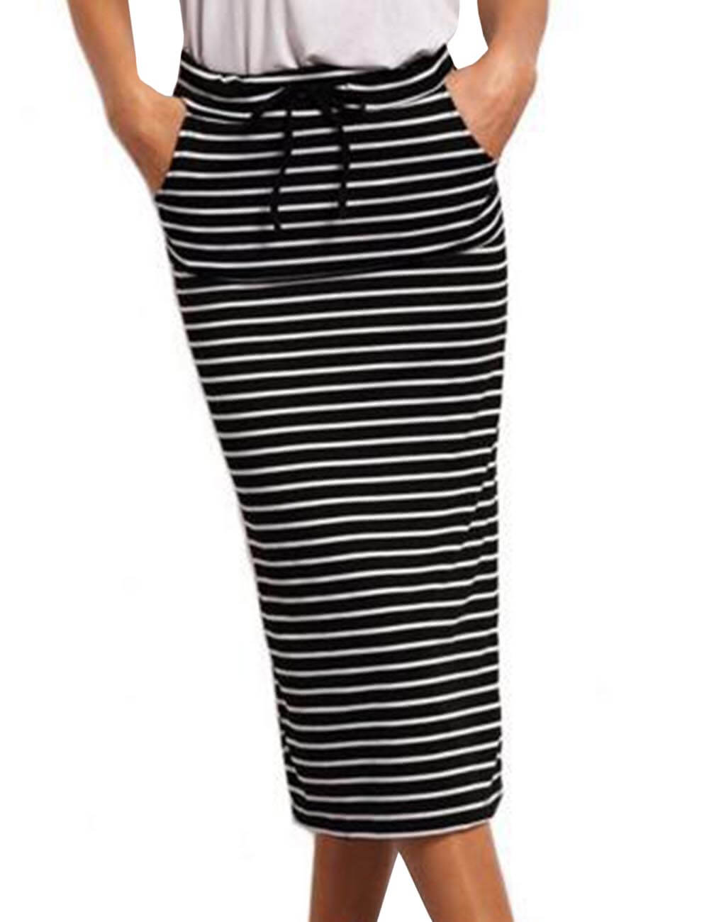 Womens Knee Length Striped Tie Front High Waist Bodycon Pencil Midi Sheath Skirts Plus Size