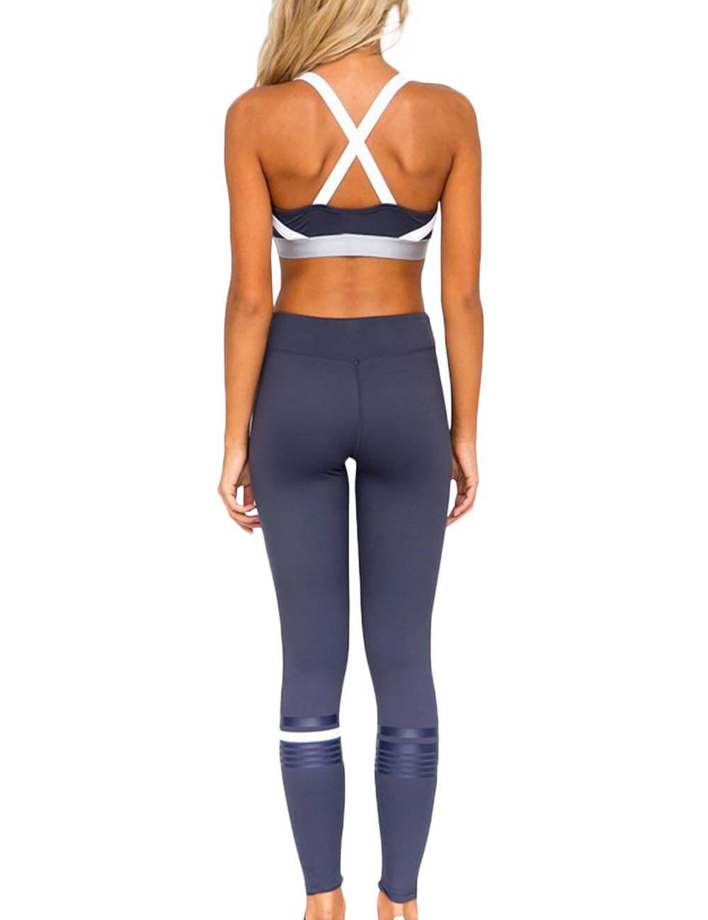 Women 2PCS Patchwork Sporty Gym Bra Tank Top Cross Back Sexy Yoga Leggings Jumpsuits Stretchy Tights Tracksuits