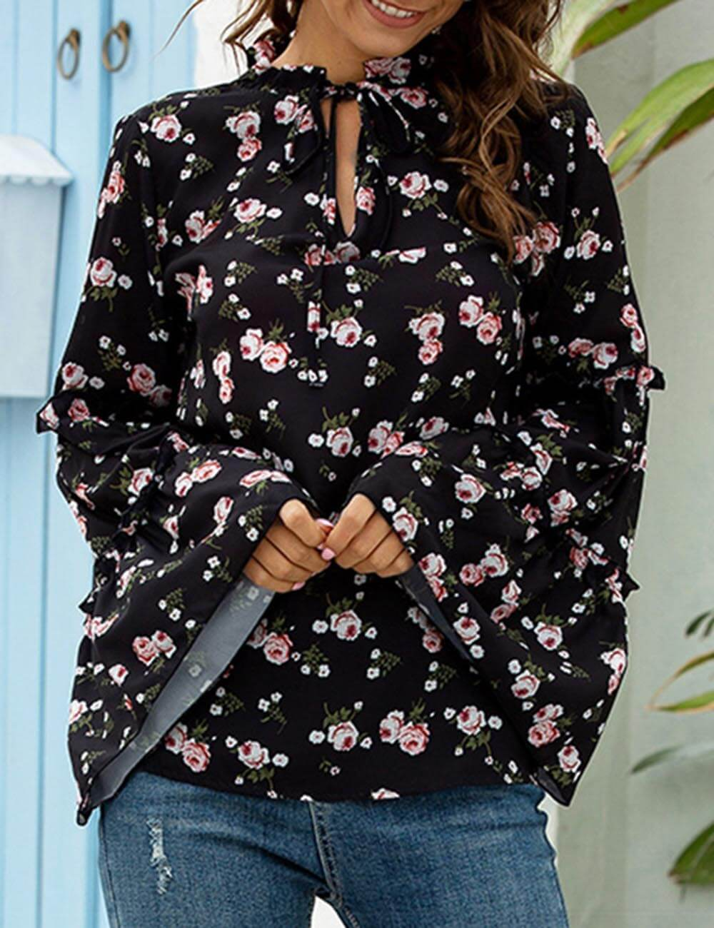 Women's Boho Floral Printed Tie Neck Tops Summer Flared Bell Sleeve Chiffon Loose Blouses T-Shirt