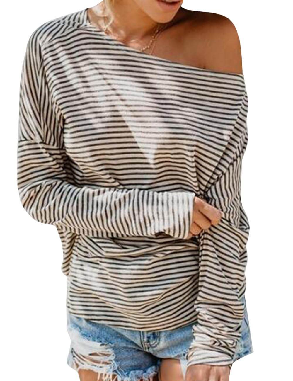 Women's One Shoulder Long Sleeve T-Shirt Multi-Wear Loose Off Shoulder Casual Striped Blouse Shirt Pullovers Top
