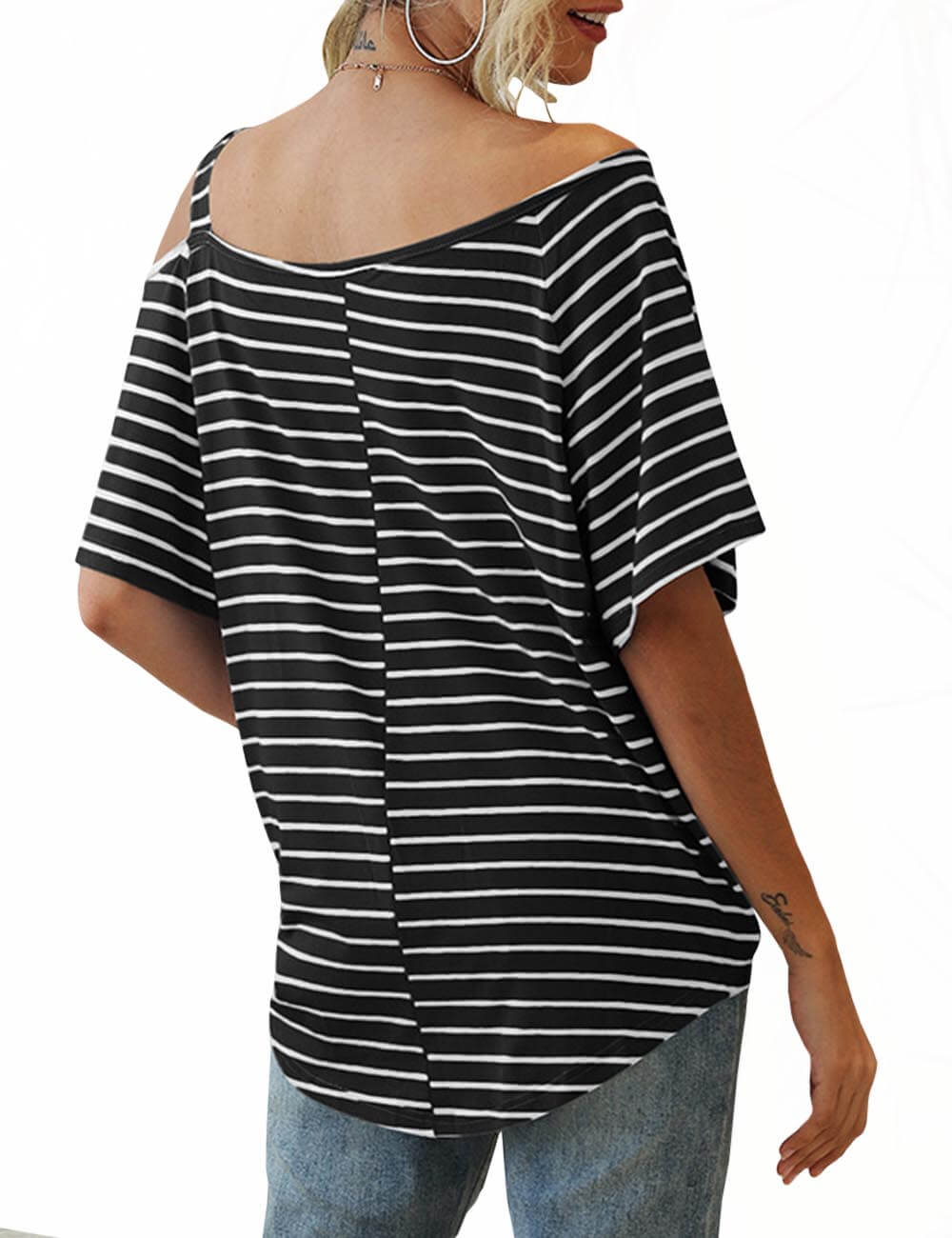 Women's One Shoulder Cotton Tee Short Sleeve Front Bow Tie Loose Striped Cold Shoulder Basic Tshirts