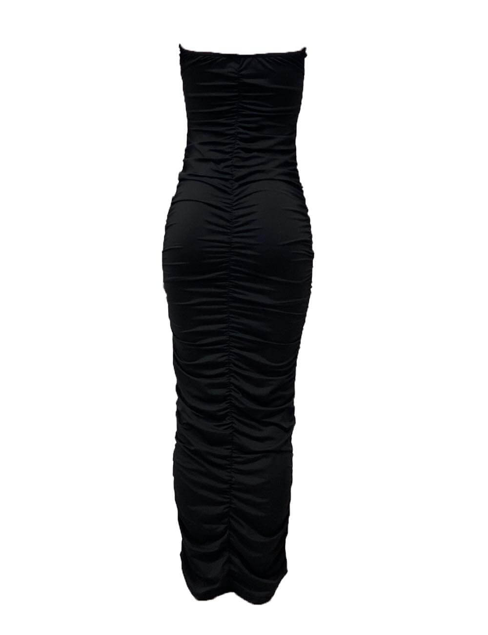 Women's  Sexy Ruched Strapless Tube Off Shoulder Tight Bodycon Party Club Night Maxi Dress