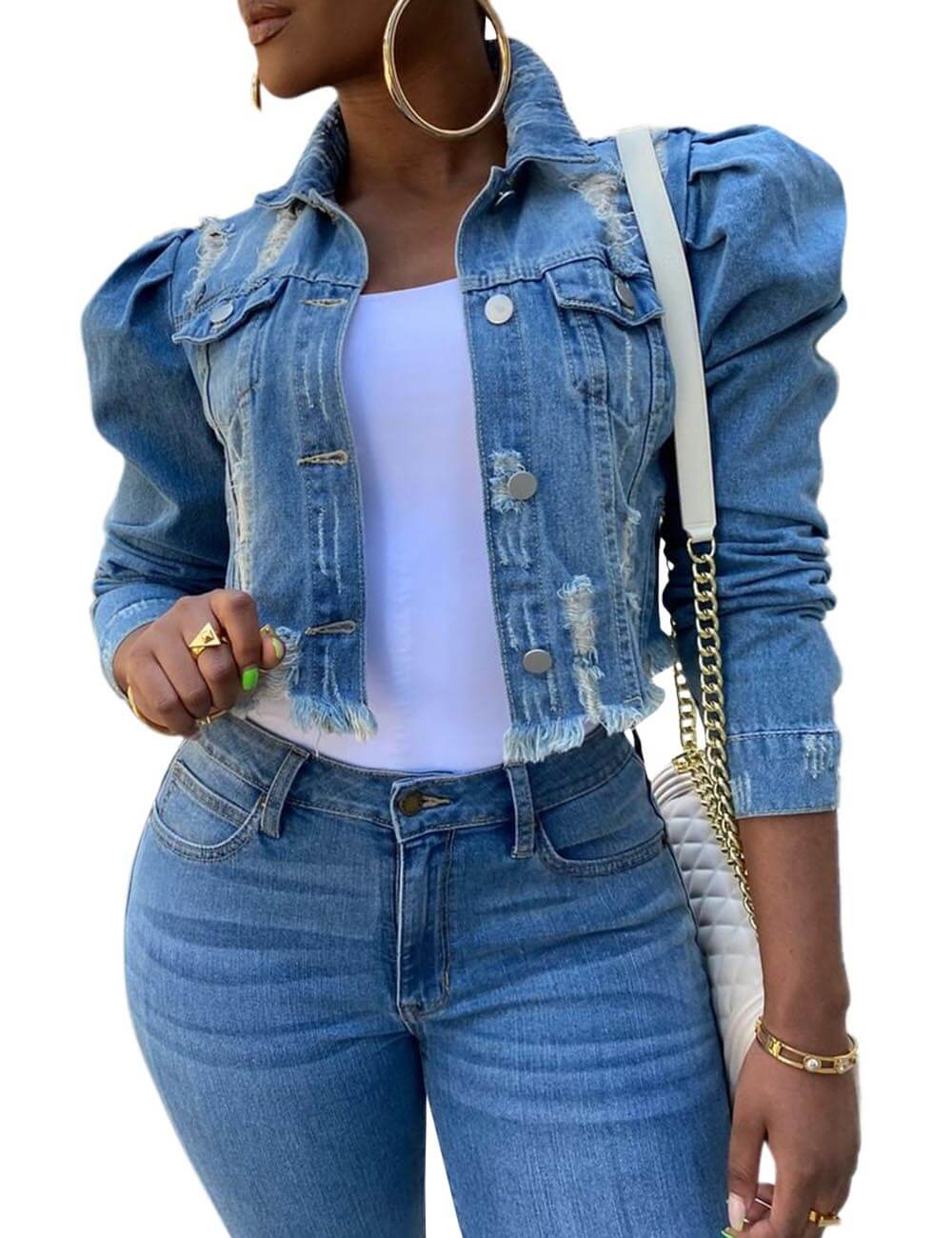 Women's Distressed Denim Jeans Outfits Coat Spring Fall Washed Jeans Outerwear Short Denim Jacket