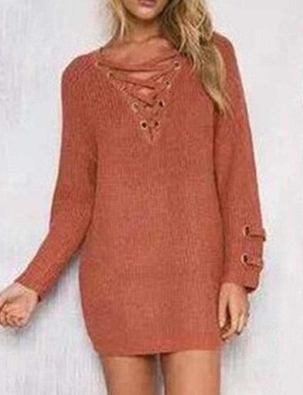 Women's Fall Lace Up Oversized Free Size Loose Fit Knitted Long Tunic Tops Casual Sweater Dress
